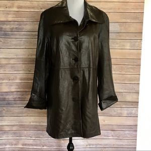 Coldwater Creek Leather Car Length Coat